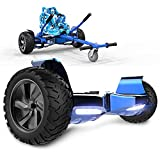 GeekMe Gyropode Auto-équilibré Scooter électrique 8,5 '' Tout Terrain avec Moteur Puissant Bluetooth + Hoverkart Accessoire pour Gyropode Electrique (Blue+HipBlue kart1)