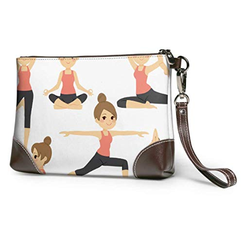 XCNGG Bolso de viaje de embrague cosmético impermeable suave para niños lindos en diferentes posturas de yoga bolso de mano de cuero para mujer con cremallera para mujeres y niñas