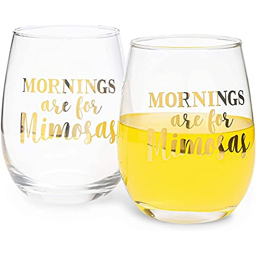 Mornings Are for Mimosas Stemless Wine Glass (16 oz, 2 Pack)
