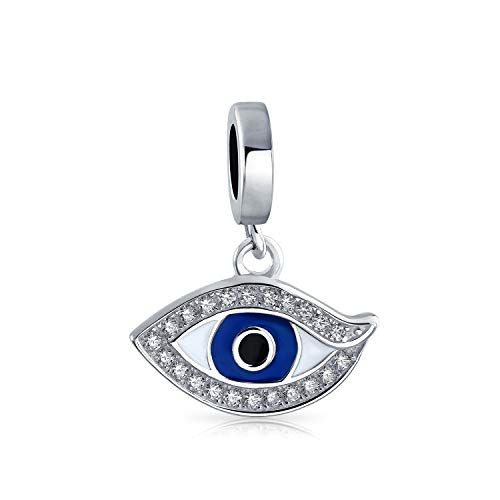 Personalized Crystal Amulet Protection Blue Evil Eye Dangle Charm Bead For Women Teen Enamel .925 Sterling Silver Fits European Bracelet Custom Engraved