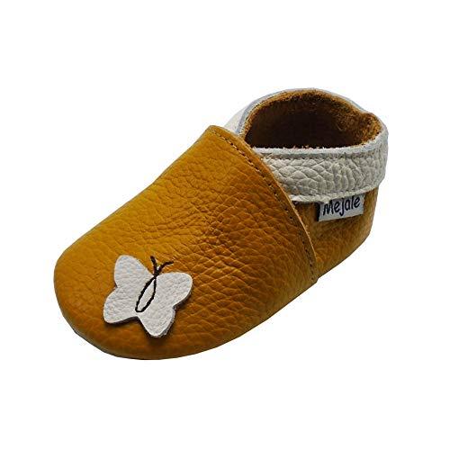 Mejale Weiche Sohle Leder Babyschuhe Lauflernschuhe Krabbelschuhe Kleinkind Kinderschuhe Hausschuhe Karikatur Schmetterling(0-6 Monate, braun,S)