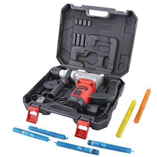 DD-upstep Rotary Hammer Drill 9.1 Amp with Vibration Control, 6 Drill Functions and Adjustable Handle - Includes Drill Demolition Kit, Flat and Point Chisels with Case