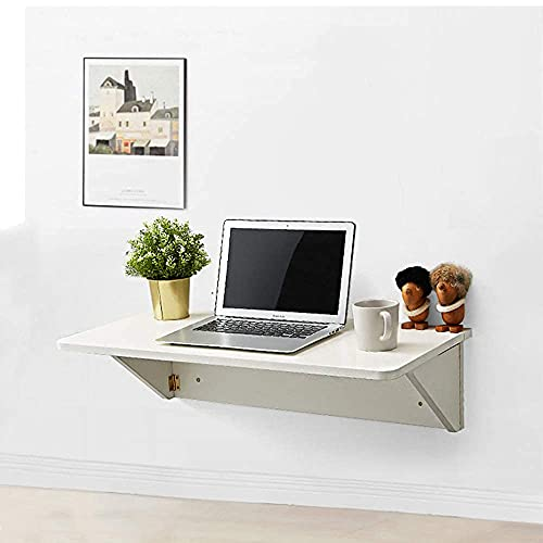 SXYRN Mesa Plegable de Pared Escritorio para computadora de Pared Escritorio Material de Madera de eucalipto Invisible Mesa Plegable de Estilo nórdico, Blanco, 80X40Cm