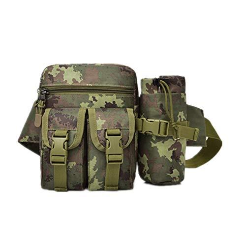 ZumZup Herren Taktische Hüfttasche mit Wasserflasche-Tasche Bauchtasche Gürteltasche Taille Tasche für Angeln Radfahren Bergsteigen Wandern 19 * 15 * 6CM Camouflage