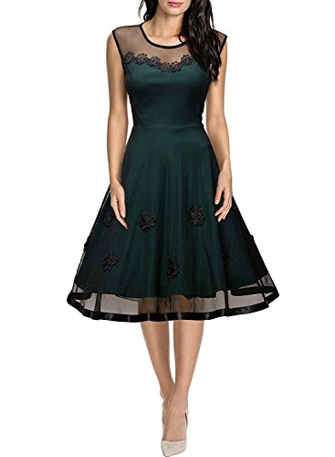 MIUSOL Damen Elegant Abendkleid Mesh Brautkleid Retro Cocktailkleid Rockabilly Party 50er Jahr Kleid XXL