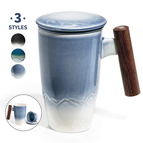 SULIVES Keramik Teetasse mit Deckel und Sieb, 400 ml, Teetrennbecher,Becher aus Porzellan für Losen Tee Oder Beutel Blau