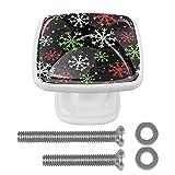 Juego de 4 pomos redondos de cristal para armarios de cocina, armarios de baño, armarios con tornillos