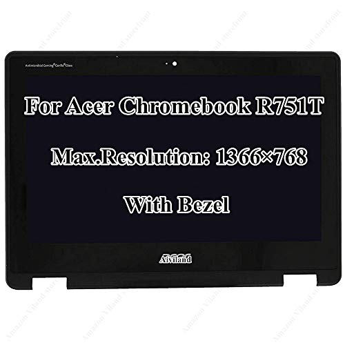 Replacement 11.6' HD 1366X768 LCD Screen LED Display Touch Digitizer Assembly with Bezel Frame for Acer Chromebook Spin 11 R751T R751TN-N14N