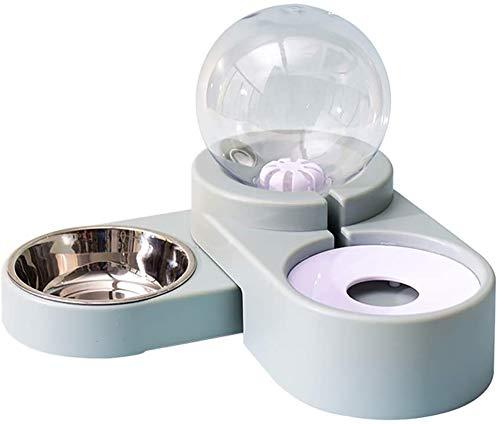 LIYT 2 En 1 Gatos Dispensador De Comida Seca para Perros Automático De Alimentos Y Dispensador De Agua De Alimentación De La Máquina 1.8L para Gatos Y Perros Pequeños,Azul
