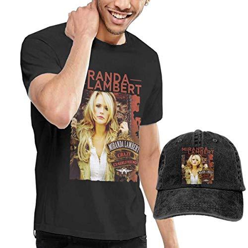 Baostic Herren Kurzarmshirt Men's Miranda Lambert Crazy Ex-Girlfriend Tees Washed Denim Baseball Dad Hat Black