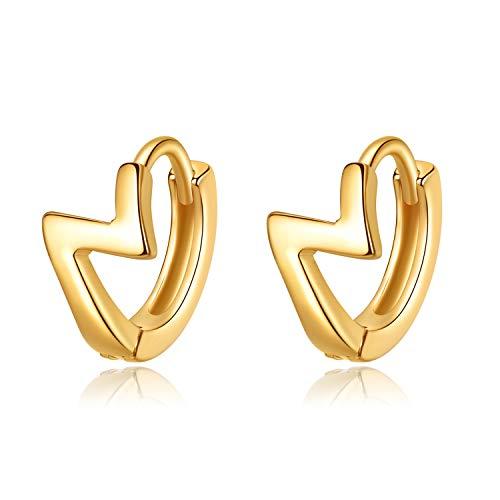 VIKI LYNN Creolen Damen Ohrringe 925 Sterling Silber in Gold Blitz Creolen Durchmesser 11mm Klein Schlafen Kreolen