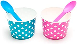 BrightandBold 12 oz Pink & Blue Gender Reveal Party Baby Shower Ice Cream Bowl & Spoon Set (Qty 50)