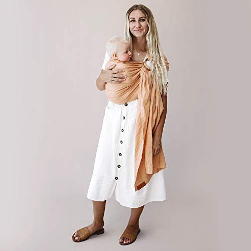 WildBird Ring Sling Baby Carrier Made from 100% European Linen - Pattern Designs, Newborns to Toddlers - (Long 90') - (Lutino Fabric/Black Ring)