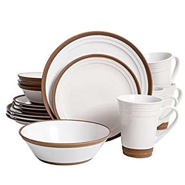 Gibson Elite 114321.16RM Brynn 16 Piece Reactive with Raw Edge Dinnerware Set, Cream