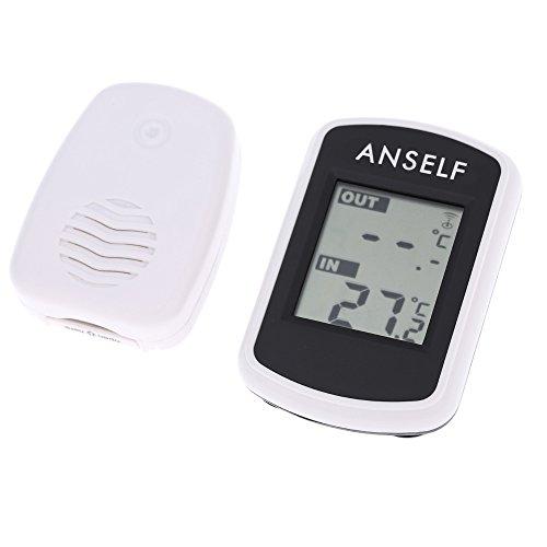 Anself Funk Thermometer Innen- / Außen-Thermometer inkl. Außensensor, Reichweite 100 m