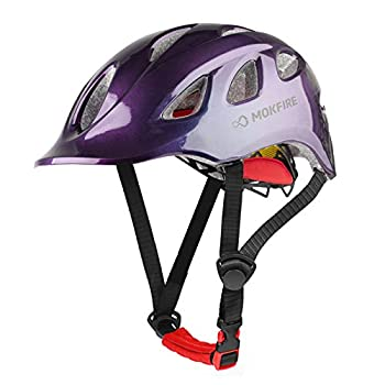 MOKFIRE Adult Bike Helmet Adjustable Lightweight Urban Casual Commuter Cycling Bicycle Helmet for Women and Men - Size  22.44-24.01 Inches -Aurora Purple