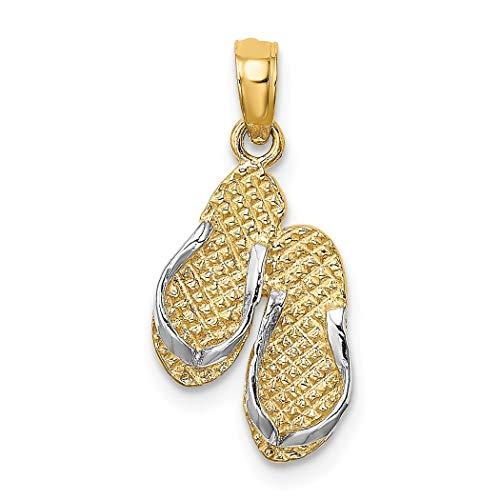 Chanclas dobles Sanibel Island de oro de 14 quilates, dos tonos (correas blancas)
