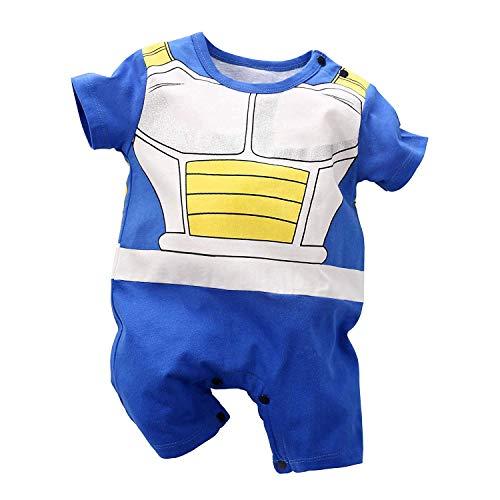 Baby Romper Jumpsuits Cosplay Newborn Cotton Bodysuit One Piece Clothes for Boy Short Sleeve White&Blue2 0-3 Months/59