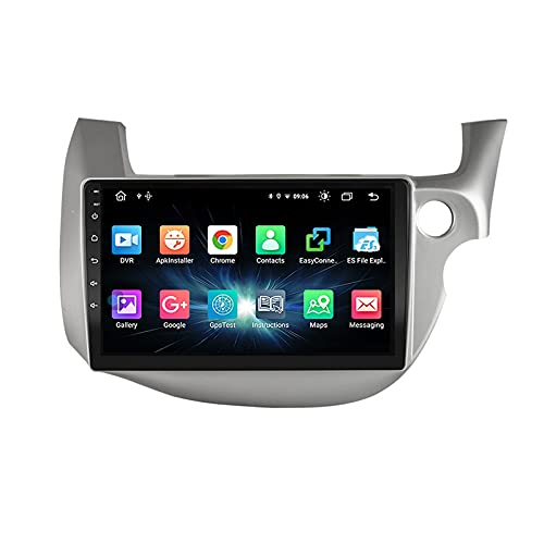 Double Din Car Stereo GPS Navigation Head Unit Built-In Wifi Module Support USB/SD/1080P Video/Carplay/DSP/RDS/4G/Bluetooth/FM Radio/SWC, for Honda Fit Jazz 2008-2013,Quad core,4G WiFi 2+32
