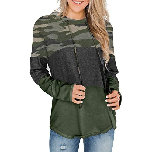 GOSOPIN Womens Triple Color Block Stripes Hoodies Casual Pullover Drawstring Sweatshirt S-2XL