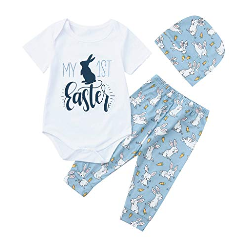 Lazzboy Baby Girl Boy Cartoon First Easter Bunny Outfits Romper Hat Pants Set 1 STÜCK Tops + 1 STÜCK Hosen + 1 STÜCK Hut(Weiß,Höhe70)