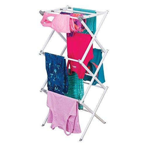 mDesign Tendedero extensible – Colgador de ropa con tres alturas – Tendedero plegable para la lavandería y para salas pequeñas – De metal resistente con barras de plástico – Blanco