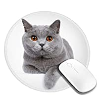 団子dadabuliu マウスパッド 円柄 白い 猫 ペット ブリティッシュショートヘア 見る 視線 ゲーミング ゴム底 光学マウス対応 滑り止め エレコム 耐久性が良い おしゃれ かわいい 防水 サイバーカフェ オフィス最適 適度な表面摩擦 直径:20cm