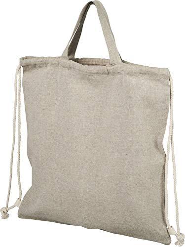 noTrash2003 Rucksack mit Kordelzug aus recycelter Baumwolle Einkaufstasche Beutel mit Henkeln und Tragegriff versch. Farben 38 x 42 cm (Heather Natural, 1er)