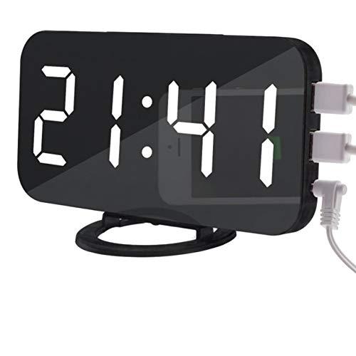NewIncorrupt Reloj despertador LED, doble salida USB, reloj con espejo, reloj digital creativo, reloj electrónico con atenuación de inducción