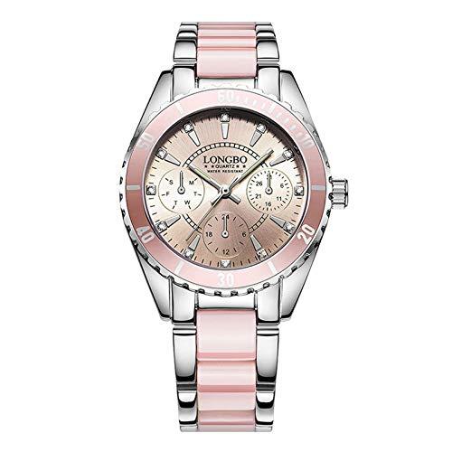 Upxiang Montre à quartz étanche et phosphorescente, avec bracelet en céramique de qualité supérieure et alliage, pour homme et femme, jolie montre-bracelet rose 23cm A
