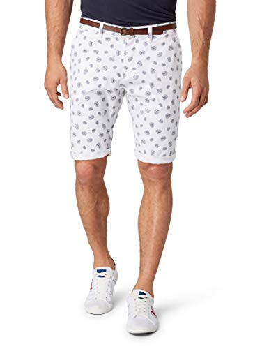 TOM TAILOR Herren Hosen & Chino Josh Regular Slim Chino Shorts mit Gürtel Offwhite small Leaf Design,38