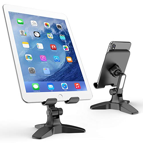 APPS2Car Tablet Stand for Desk, Sturdy Triangle Base Desk Tablet Mount, 360 Adjustable iPad Desk Stand, Compatible for iPad Pro 12.9 10.5 10 9.7, iPad Mini iPad Air and Other 4-11 Tablet - Black