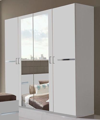 Germanica BAVARI Bedroom Furniture 4 Door Wardrobe in WHITE. MADE IN GERMANY Self Assembly