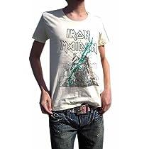 こいつは革命です BUY OR DIE ハードロック古着とは一線を画す 現代版スタイリッシュ メイデンUネックTシャツ IRON MAIDEN アイアン・メイデン PAINT MAIDEN (S, LIGHTYELLOW)