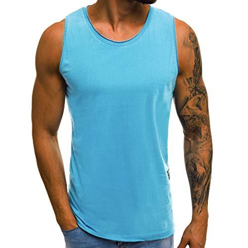 Dorical Tank Tops Herren Gym/Männer Premium Tank Top Herren - Calisthenics, Fitness und Bodybuilding Muscle Shirts für Herren - Gym Tank Top aus Hochwertigen Stoff Sale(Blau,X-Large)