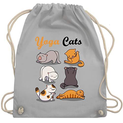Shirtracer Sprüche Statement mit Spruch - Yoga Cats - Unisize - Hellgrau - turnbeutel cat - WM110 - Turnbeutel und Stoffbeutel aus Baumwolle