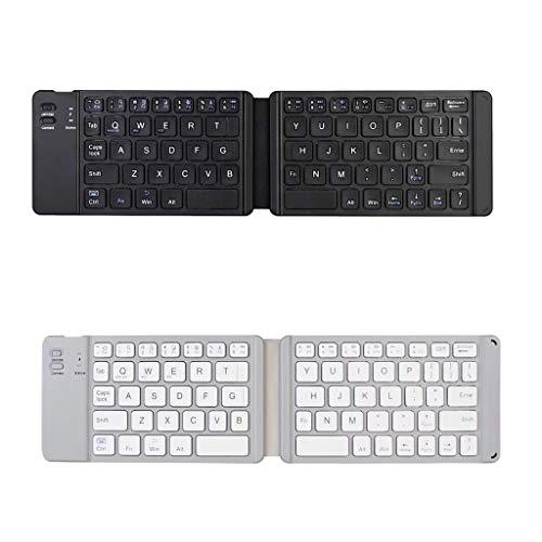 B Blesiya Teclado Bluetooth Inalámbrico Plegable para Tableta Negro + Plata