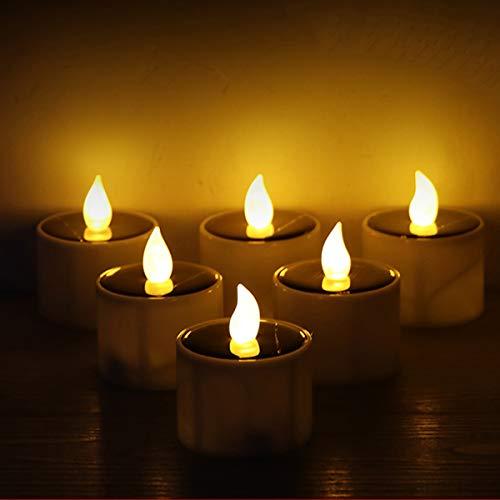 6er Solar Angetriebene Teelicht LED Kerze Hochzeit Weihnachten Dekoration Romantische Warmweiß