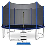 ORCC Trampoline 15 14 12 FT Outdoor Trampoline 400 LBS Weight Capacity for Kids Adults, Safe Backyard Trampoline with Enclosure Net Ladder Pad Jumping Mat Rain Cover, Including All Accessories (15ft)