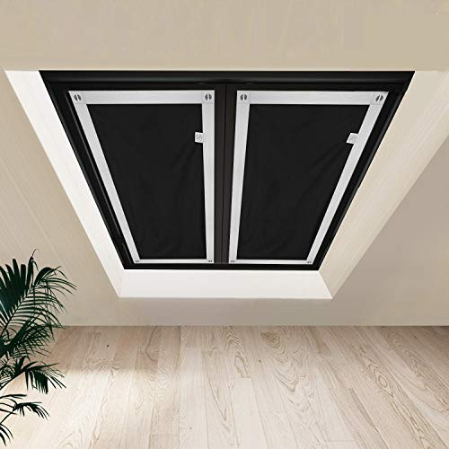 """johgee Blackout Curtains for Bedroom, Thermal Insulated Windows Shade Blinds 1 pcs (Black 29.9""""x45.3"""")"""