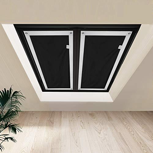 Johgee Dachfenster Rollo Thermo Sonnenschutz Silberbeschichtung Verdunkelungsrollo für VELUX Dachfenster GGU GGL GPU GPL GHU GHL GTU GTL GXU GXL (ohne bohren mit 6 Saugnäpfen,Größe 60x93cm)