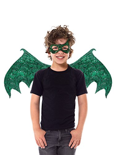 Little Adventures Reversible Dragon Mask and Wing Sets for Boys & Girls (Ages 3-8) (Green)