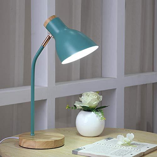 Nordic tafellamp oogbescherming leesbureau student slaapkamer nachttafellamp kleine tafellamp plug-in type-mintgroen + LED-lamp_drukknopschakelaar