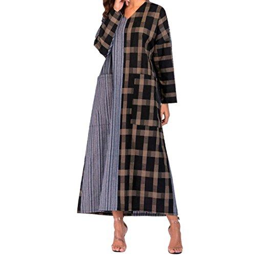 Longra Damen Leinenkleid Vintage Baumwollleinen Kleider Lange Maxikleider V-Ausschnitt Kleider...