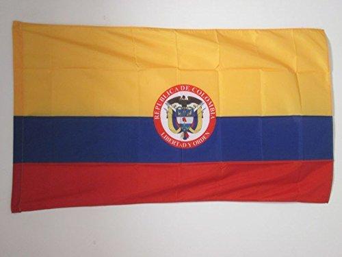 AZ FLAG Flagge KOLUMBIEN MIT Waffen 150x90cm - KOLUMBIANISCHE Fahne 90 x 150 cm Scheide für Mast - flaggen Top Qualität