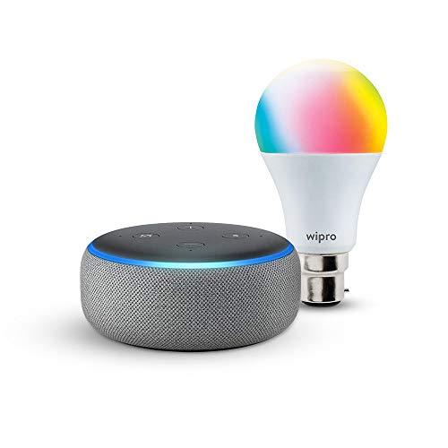 Echo Dot (Grey) bundle with Wipro 9W smart bulb