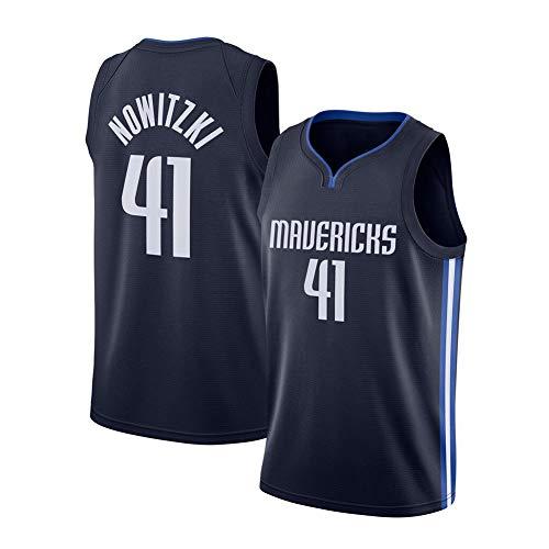 XWNZ Dallas Mavericks # 41Basketball Trikot, Dirk Nowitzki Herren Sommer Top Fan Edition Jersey Gesticktes Netz Atmungsaktive Weste Kann wiederholt gereinigt Werden-blueA-XL(185~190CM)