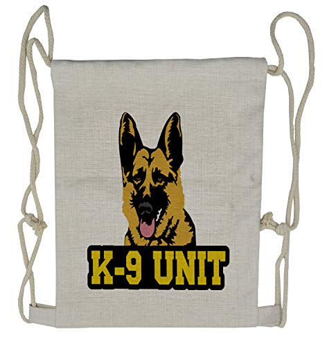Lunarable German Shepherd Drawstring Backpack, Police Dog K-9 Unit, Sackpack Bag