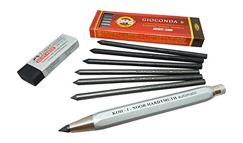 Koh-I-Noor Automatic 5.6mm lead holder / mechanical clutch artist drawing, carpenter woodworking pencil with Graphite & Charcoal lead refills set