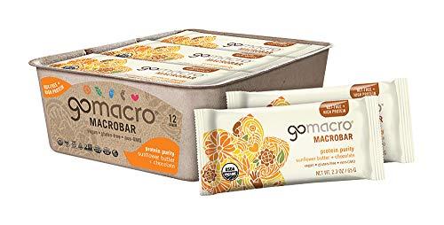 GoMacro MacroBar Organic Vegan Protein Bars Sunflower Butter + Chocolate 2.3 Ounce Bars (Pack of 12)